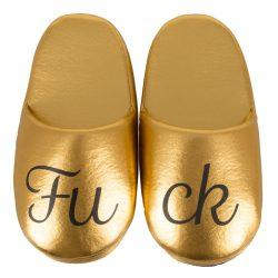 Fuck Arany színű papucs - felirattal