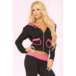Pink Lipstick Lace Trim Cropped Hoodie  szabadidő ruha  felső